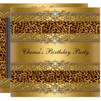 Birthday Party Gold Leopard Diamond Card