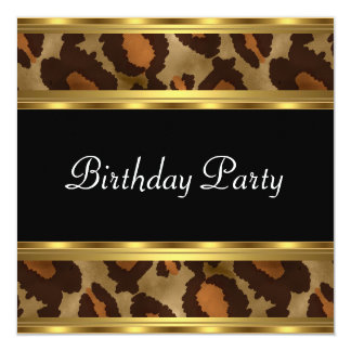Birthday Party Gold Leopard 5.25x5.25 Square Paper Invitation Card