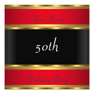 Birthday Party Gold Red Black Card