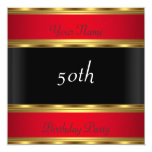 """Birthday Party Gold Red Black 5.25"""" Square Invitation Card"""