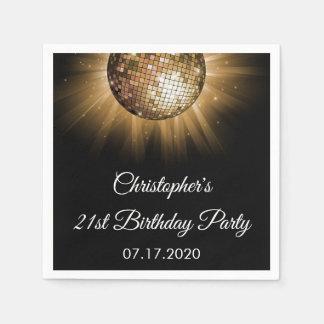 Birthday Party Gold Sparkle Disco Ball Paper Napkin