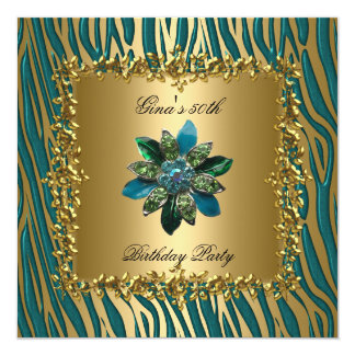 Birthday Party Gold Teal Blue Floral Womens 50th Card