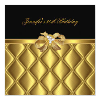 Birthday Party Gold Tile Trim Black Diamond Card