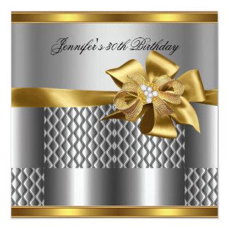 Birthday Party Gold Tile Trim Silver Grey Diamond 5.25x5.25 Square Paper Invitation Card