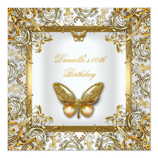 Birthday Party Gold White Butterfly Lace Image Card