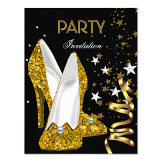 Birthday Party Gold Yellow Shoes Card