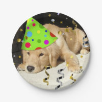 Birthday Party Golden Retriever Paper Plate