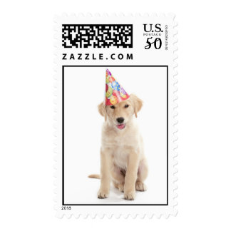 Birthday Party Golden Retriever Puppy Postage