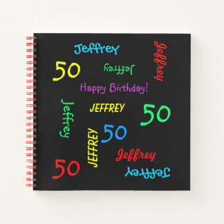 Birthday Party Guest Book, ANY NAME, ANY AGE, FUN Notebook