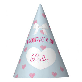 Birthday Party Hat Birthday Girl Blue and Pink