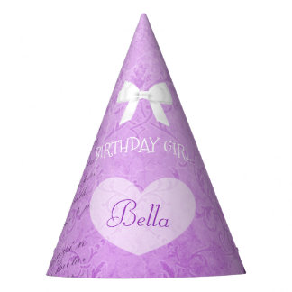 Birthday Party Hat Birthday Girl Purple Bow