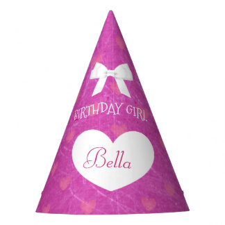 Birthday Party Hat Birthday Girl White and Pink