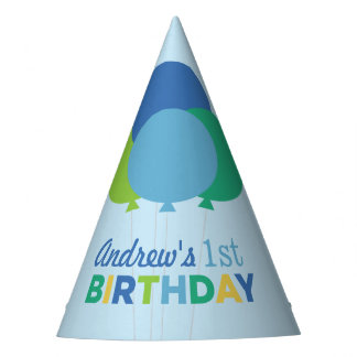 Birthday Party Hat | Blue Green Balloons
