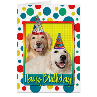 Birthday Party Hat - Golden Retriever Tebow Corona Greeting Cards