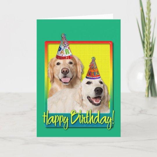 Birthday Party Hat Golden Retriever Tebow Corona Card Zazzlecom