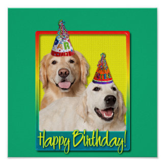Birthday Party Hat - Golden Retriever Tebow Corona Poster