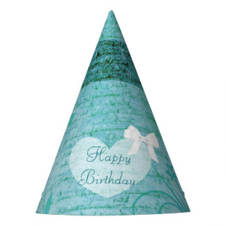 Birthday Party Hat turquoise Teal Heart