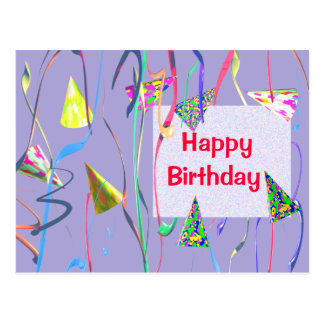 Birthday Party Hats and Streamers Postcard