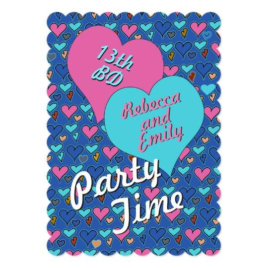 Birthday Party Hearts Teen Twins Custom Invitation