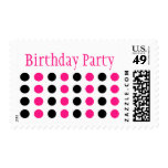 Birthday Party (Hot Pink / Black Stamp) Postage Stamps