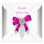 Birthday Party Hot Pink Bow Silver White Diamond Announcements