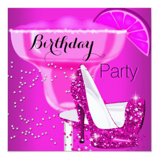 Birthday Party Hot Pink Cocktail High Heels 5.25x5.25 Square Paper Invitation Card