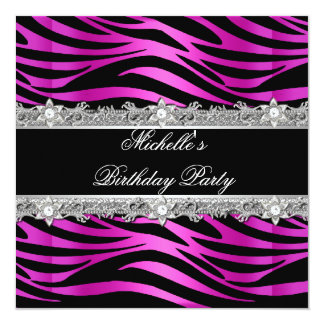 Birthday Party Hot Pink Silver Zebra Diamond Black Card