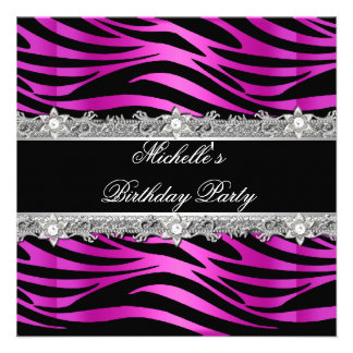 Birthday Party Hot Pink Silver Zebra Diamond Black Personalized Announcement