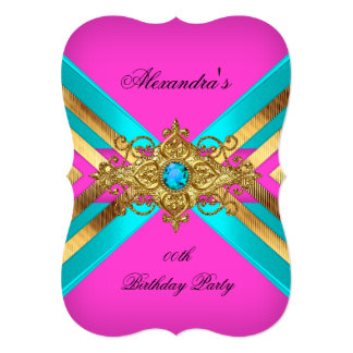 Birthday Party Hot Pink Teal  Jewel Gold Stripe Card