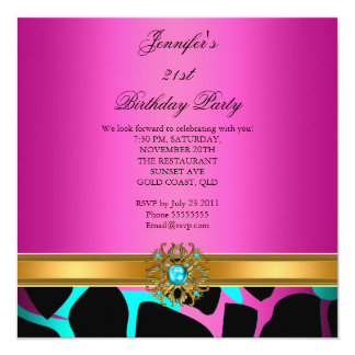 Birthday Party Hot Pink Wild Teal Gold Card