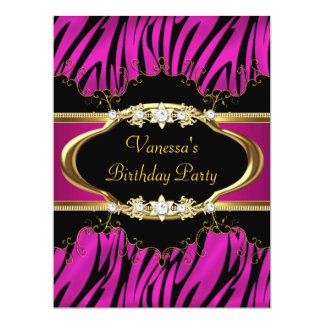 Birthday Party Hot Pink Zebra Gold Black Card