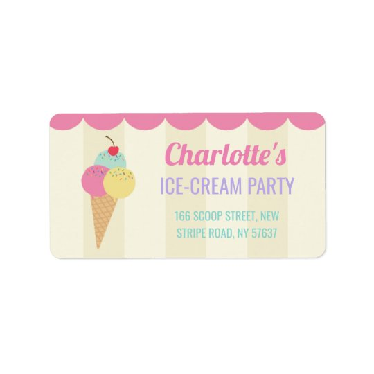 birthday party ice cream parlour address labels zazzle com