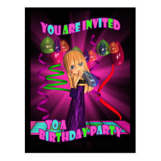 Birthday Party inviation with Cute little Cutie Pi Postcard
