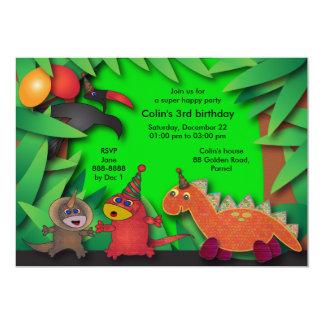 Birthday Party Invitation: 035 Dinosaurs & Friends Card