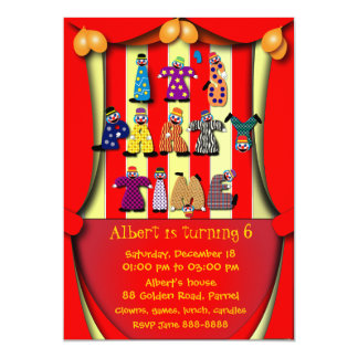 Birthday Party Invitation: 036 Clowns Card