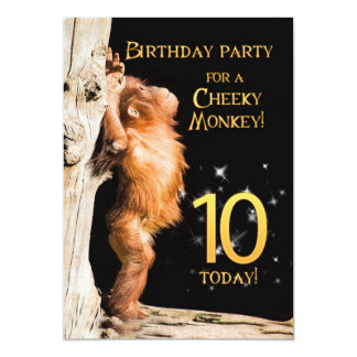 Birthday party invitation 10, with orangutan