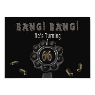 BIRTHDAY PARTY INVITATION- 66TH - GUN PEWTER-BANG! CARD