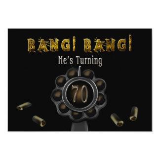 """BIRTHDAY PARTY INVITATION - 70TH - BANG BANG! 5"""" X 7"""" INVITATION CARD"""