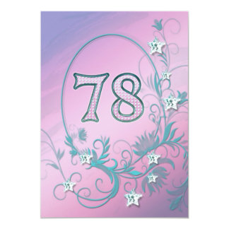 "Birthday party invitation 78 years old 5"" x 7"" invitation card"