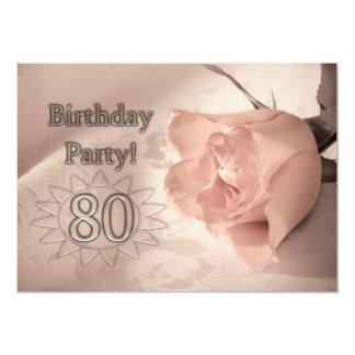 "Birthday party invitation 80 years old 5"" x 7"" invitation card"