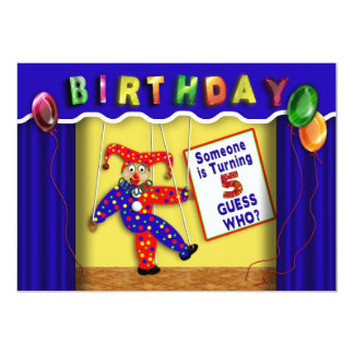 """BIRTHDAY PARTY INVITATION -AGE 5 - PUPPET STAGE 5"""" X 7"""" INVITATION CARD"""