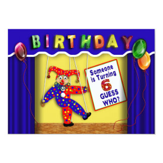 """BIRTHDAY PARTY INVITATION -AGE 6 - PUPPET STAGE 5"""" X 7"""" INVITATION CARD"""