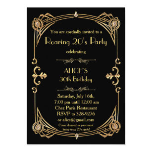 You are cordially invited invitations announcements zazzle birthday party invitation any age art deco gatsby filmwisefo