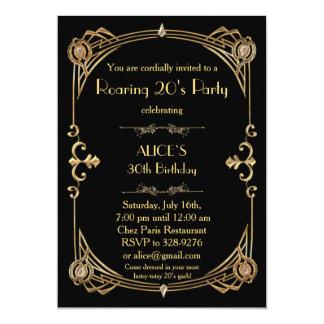 Birthday Party Invitation, Art Deco Gatsby Style Card
