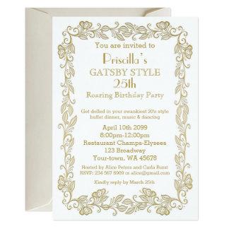 Birthday party invitation Art Deco,Woman,white gol