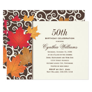 Fall birthday invitations announcements zazzle birthday party invitation autumn fall theme filmwisefo Images