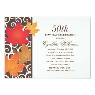 "Birthday Party Invitation | Autumn Fall Theme 5"" X 7"" Invitation Card"