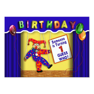 """BIRTHDAY PARTY INVITATION - BABY'S FIRST -PUPPETS 5"""" X 7"""" INVITATION CARD"""