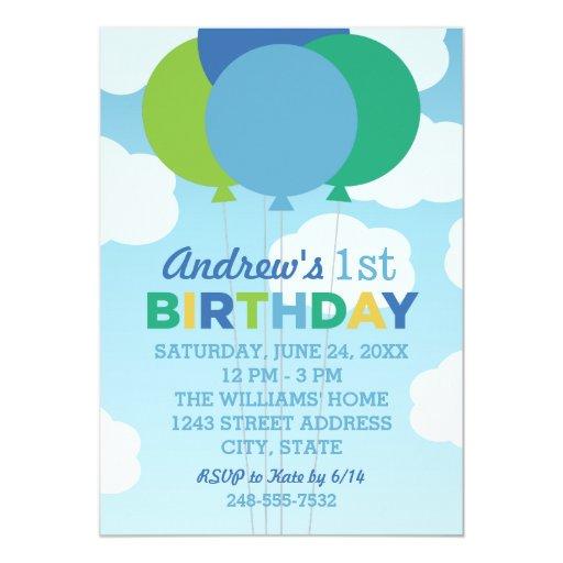 Birthday Party Invitation Blue Green Balloons