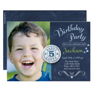 Birthday Party Invitation Boy Chalkboard Photo